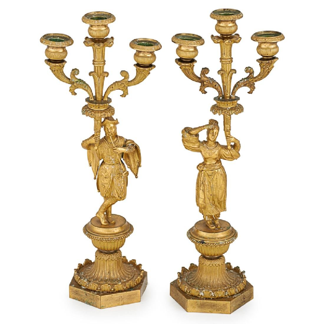 PAIR OF GILT BRONZE LOUIS PHILIPPE CANDELABRA