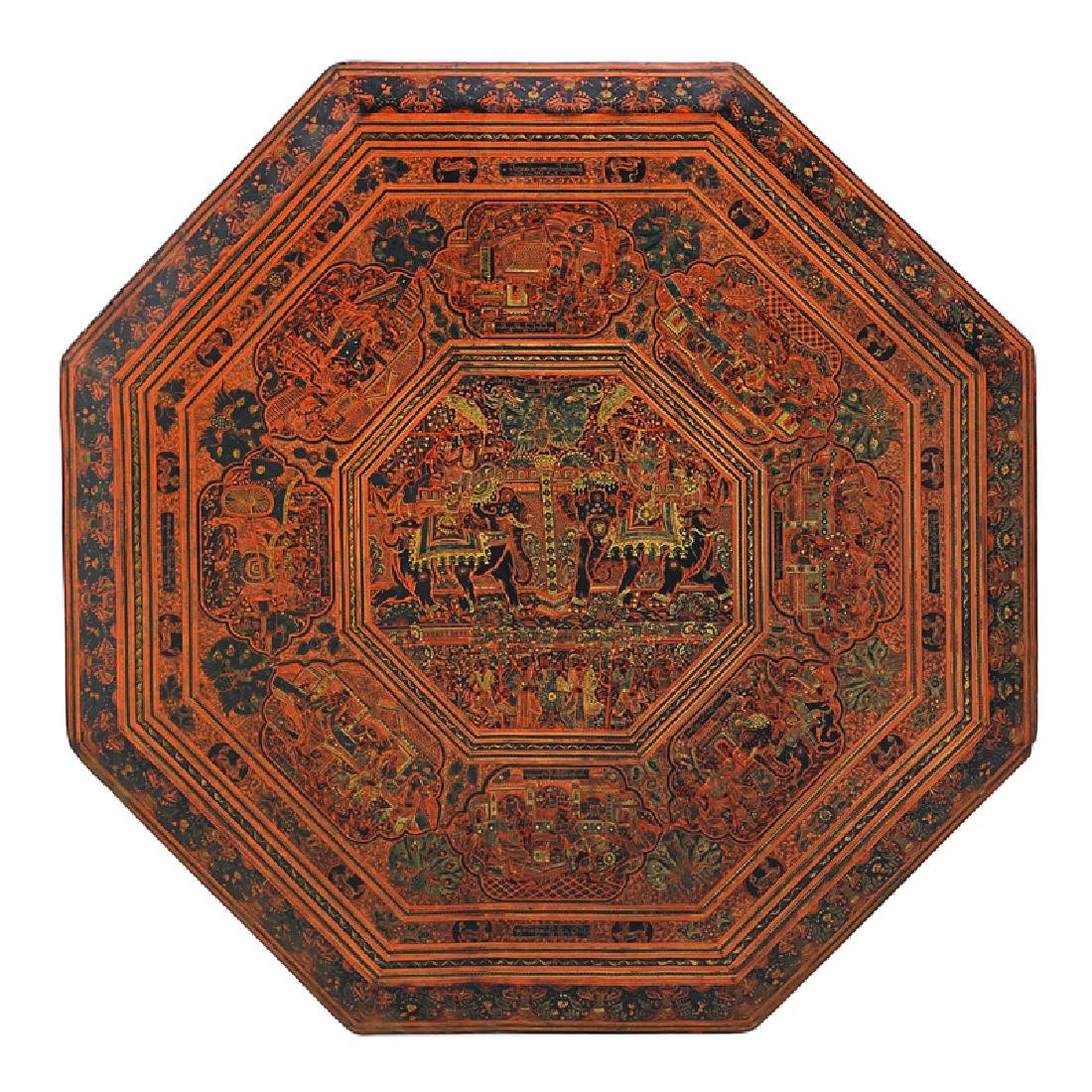INDIAN RED LACQUER TRAY ON STAND - 2