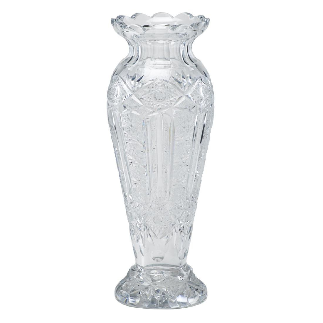 MONUMENTAL CUT GLASS VASE