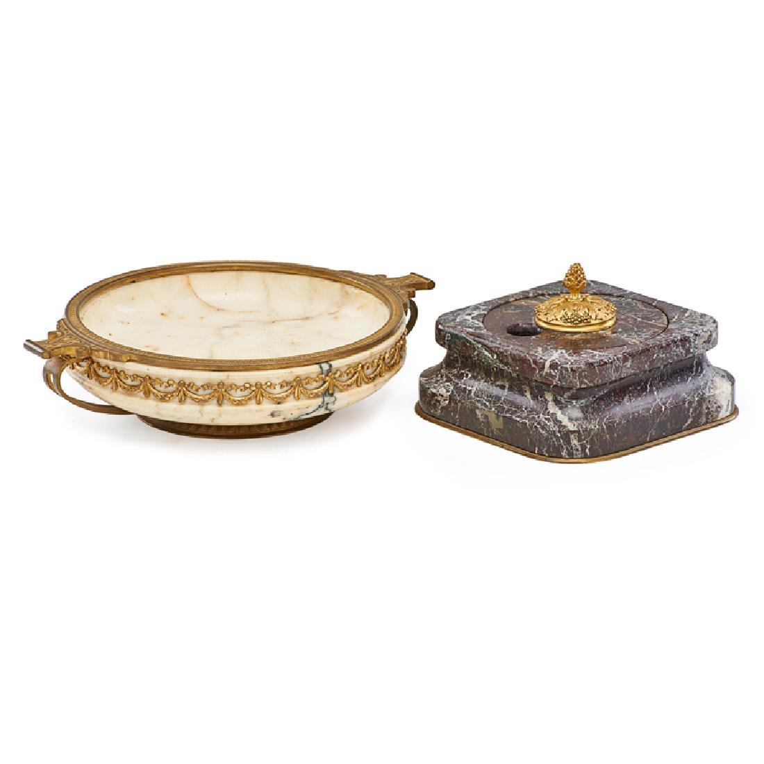 FRENCH INKWELL AND LOW BOWL