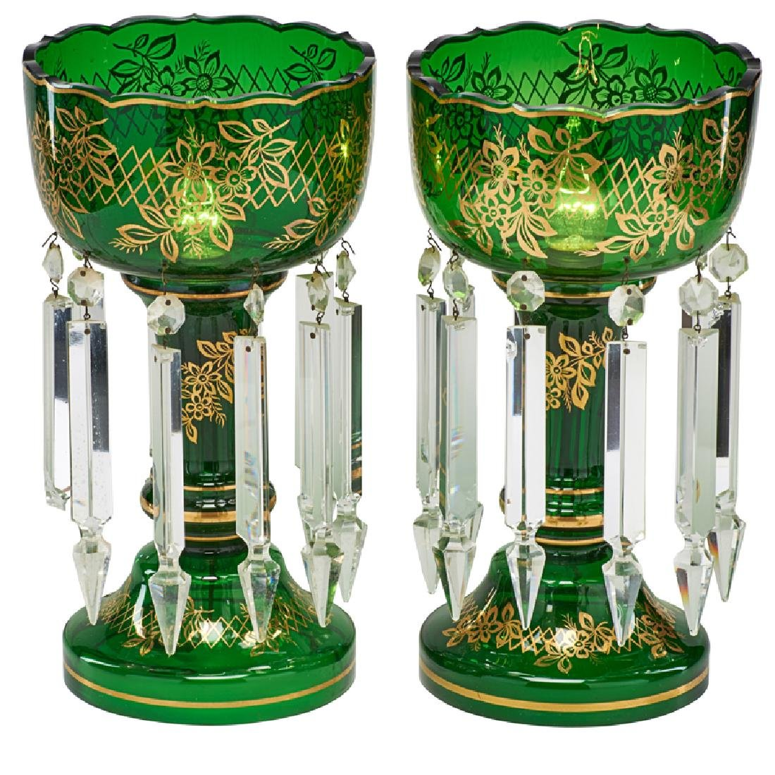 PAIR OF VICTORIAN GREEN GLASS LUSTERS