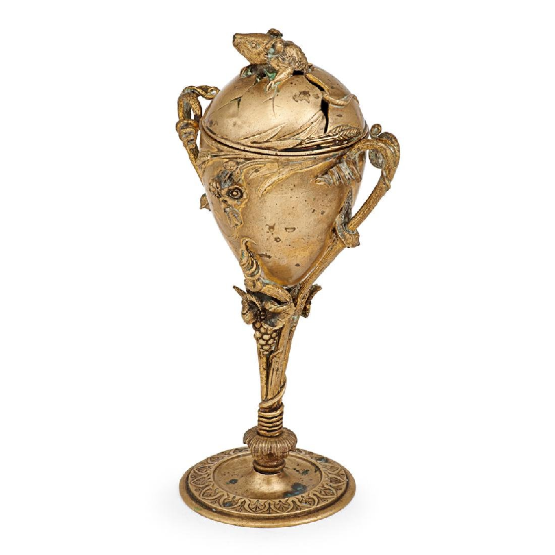 FIGURAL BRONZE CUP WITH COVER