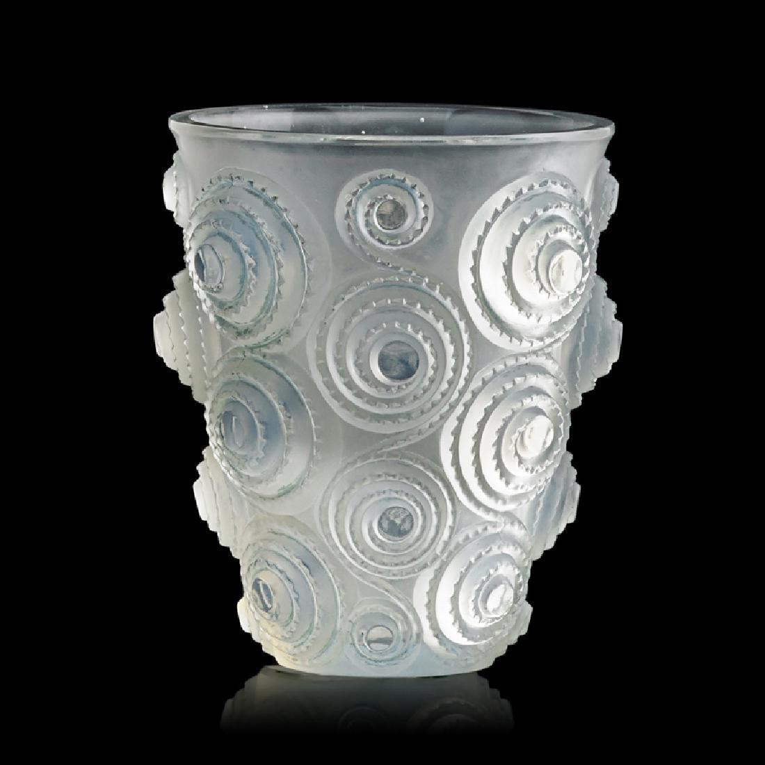 "LALIQUE ""Spirales"" vase, opalescent glass"