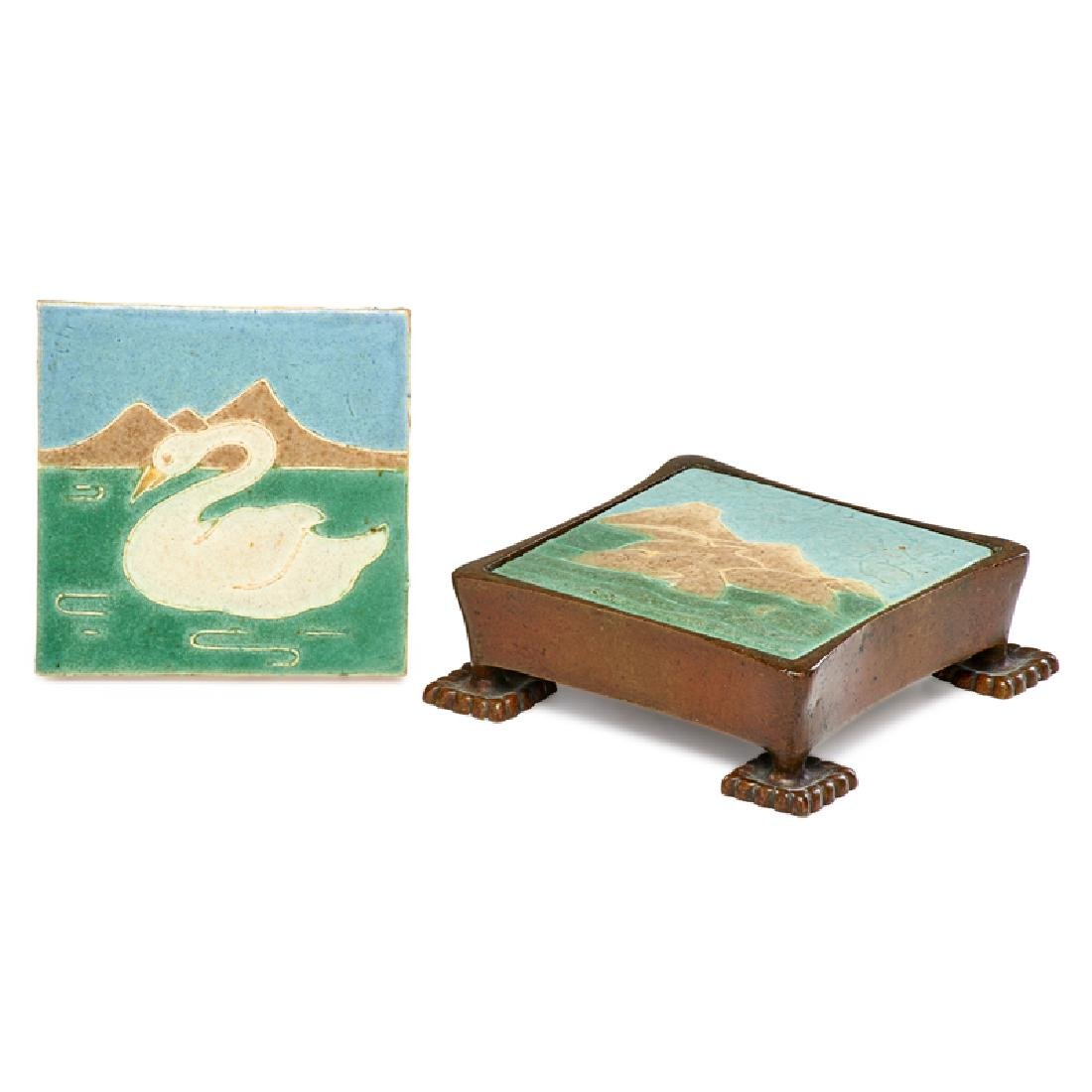 GRUEBY; TIFFANY STUDIOS Two tiles, frame