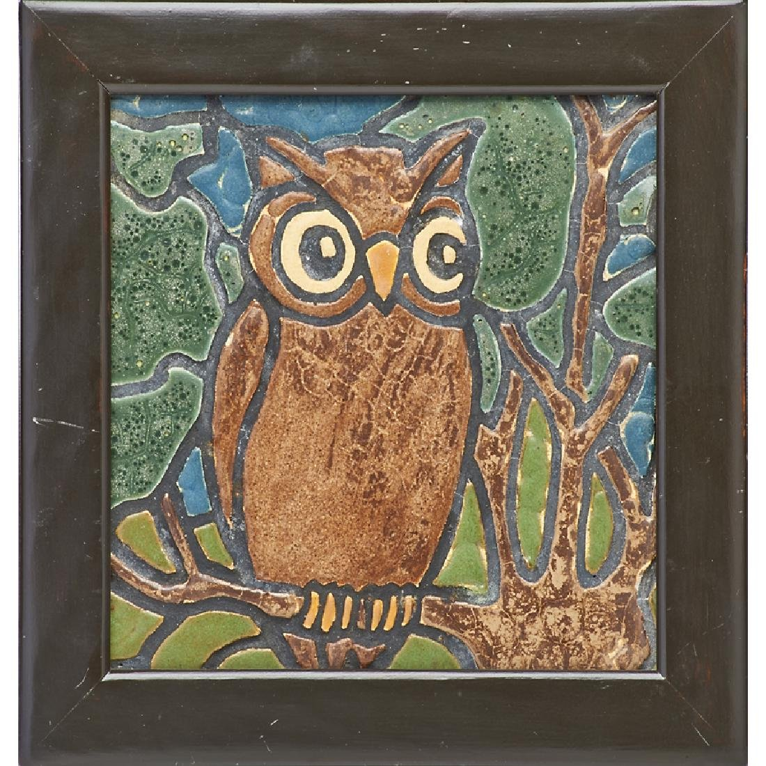 HARTFORD FAIENCE Rare owl tile
