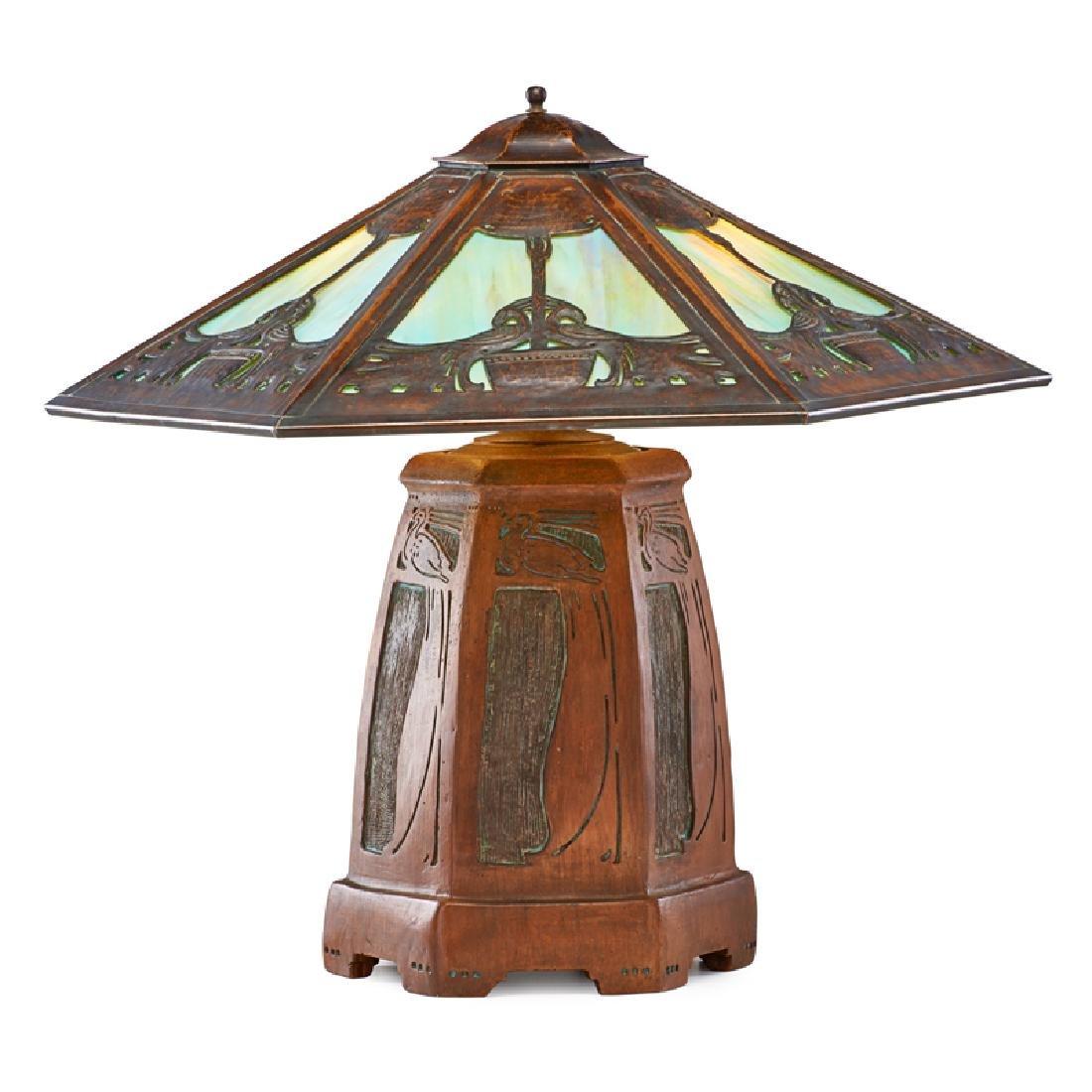 ERNEST BATCHELDER; D. DONALDSON Unique peacock lamp