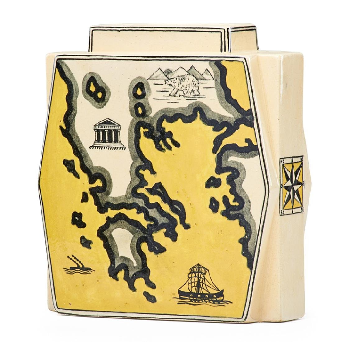 ROBERT LALLEMANT Vase with maps of Italy/Greece