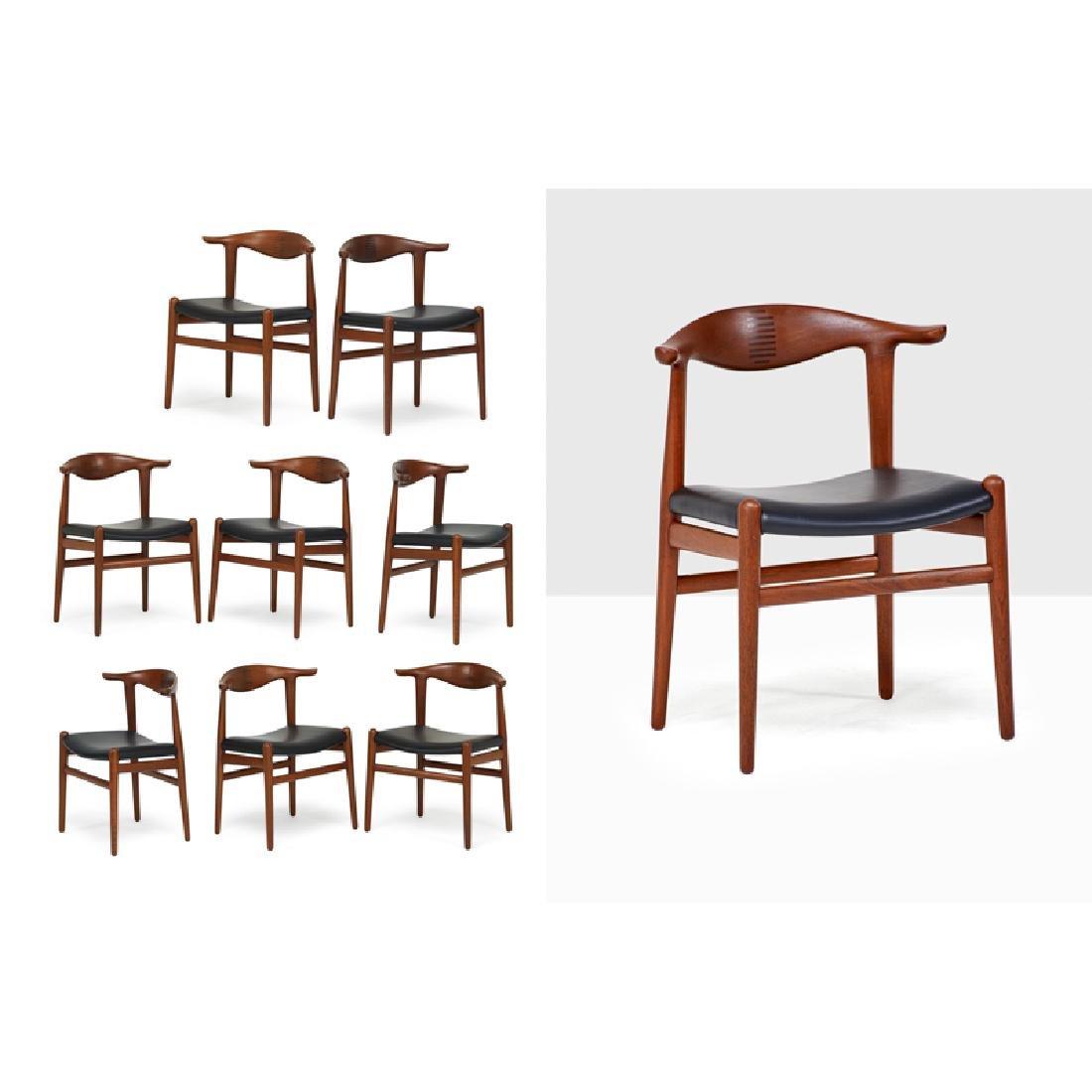HANS WEGNER Set of eight Cowhorn chairs