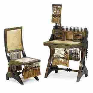 CARLO BUGATTI Rare writing desk and chair