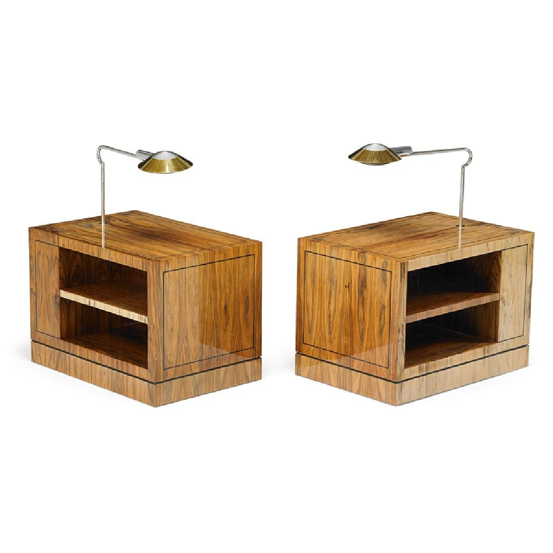 KARL SPRINGER; CEDRIC HARTMAN Pair of side tables