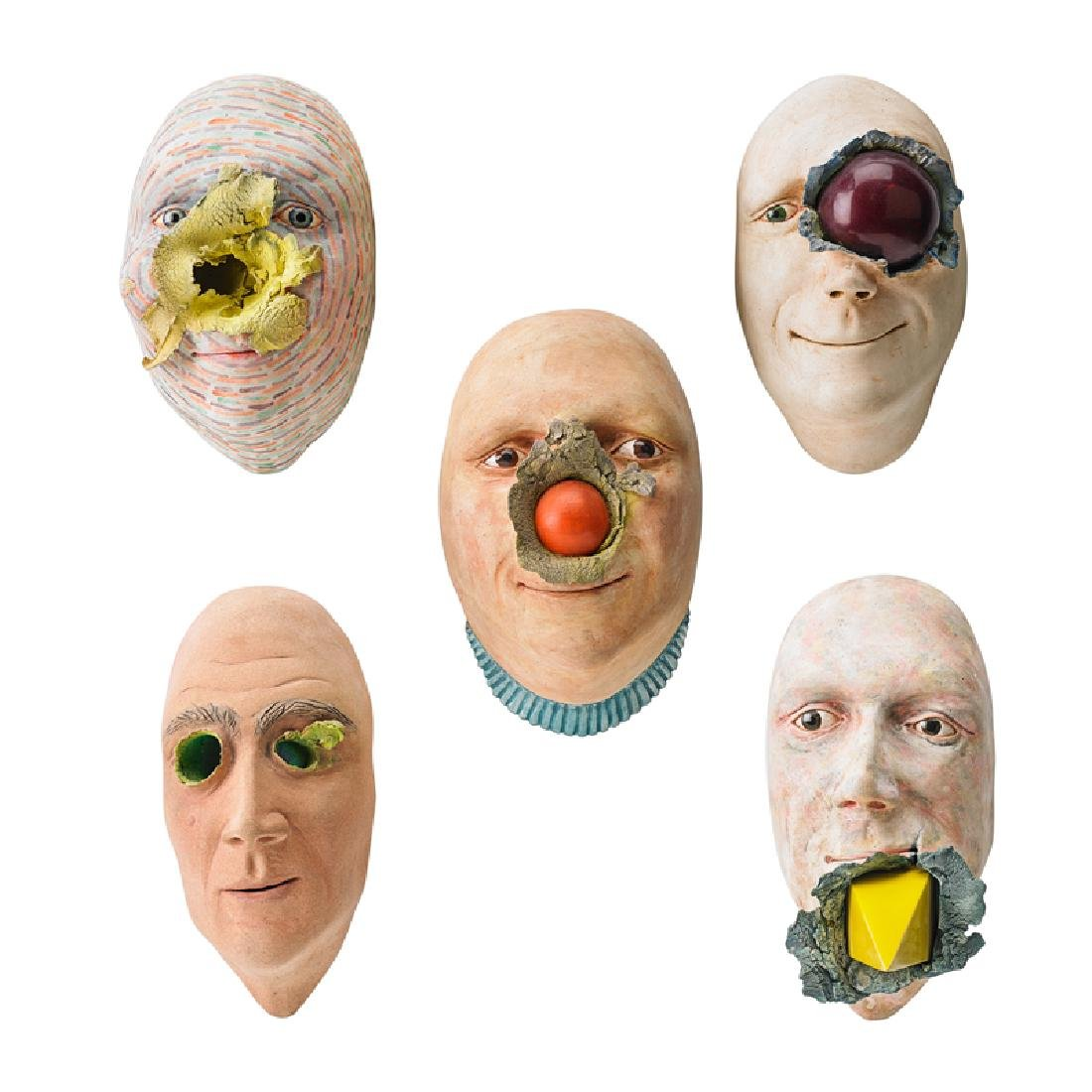 JOHN WOODWARD Five face sculptures