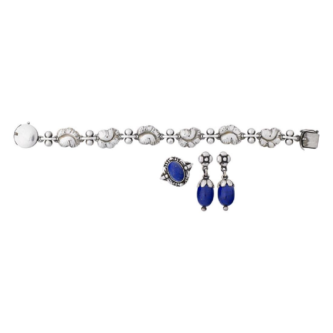 GEORG JENSEN SILVER ASSEMBLED SUITE WITH LAPIS