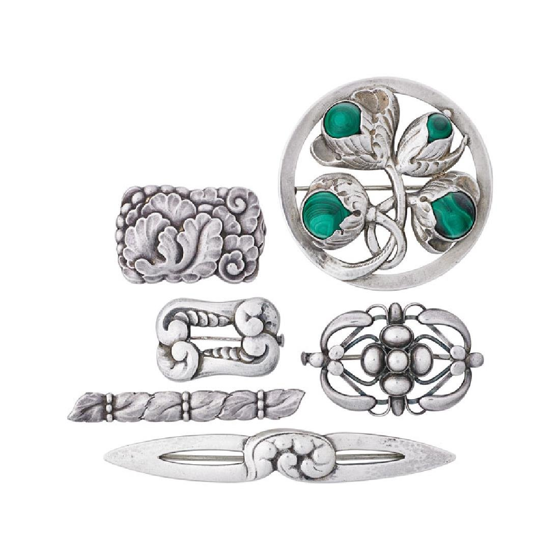 GEORG JENSEN OR NIELSEN SILVER BROOCHES