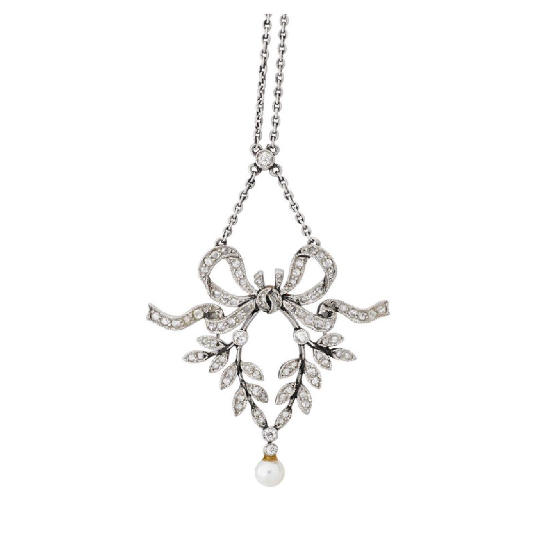 EDWARDIAN DIAMOND & SEED PEARL PENDANT NECKLACE