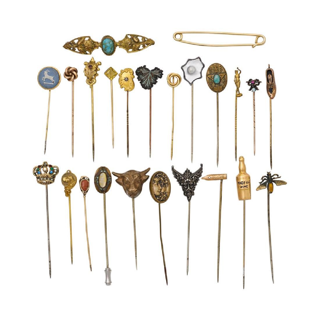 COLLECTION OF ANTIQUE STICKPINS OR BROOCHES