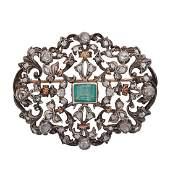 ANTIQUE EMERALD  DIAMOND BROOCH