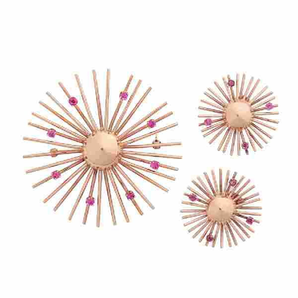 RETRO PINK GOLD & RUBY EARRING & BROOCH SUITE
