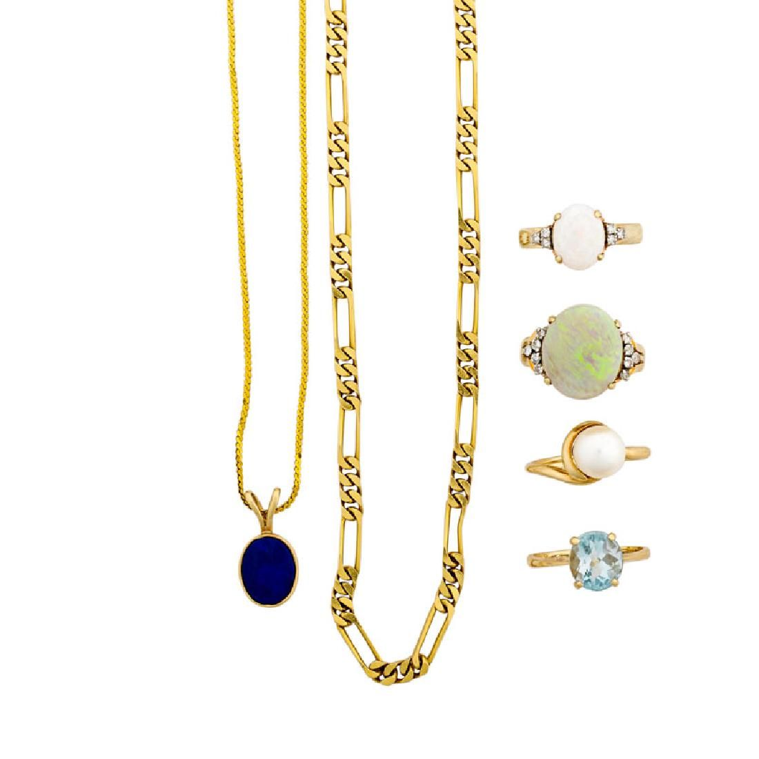 COLLECTION OF GEM SET YELLOW GOLD JEWELRY
