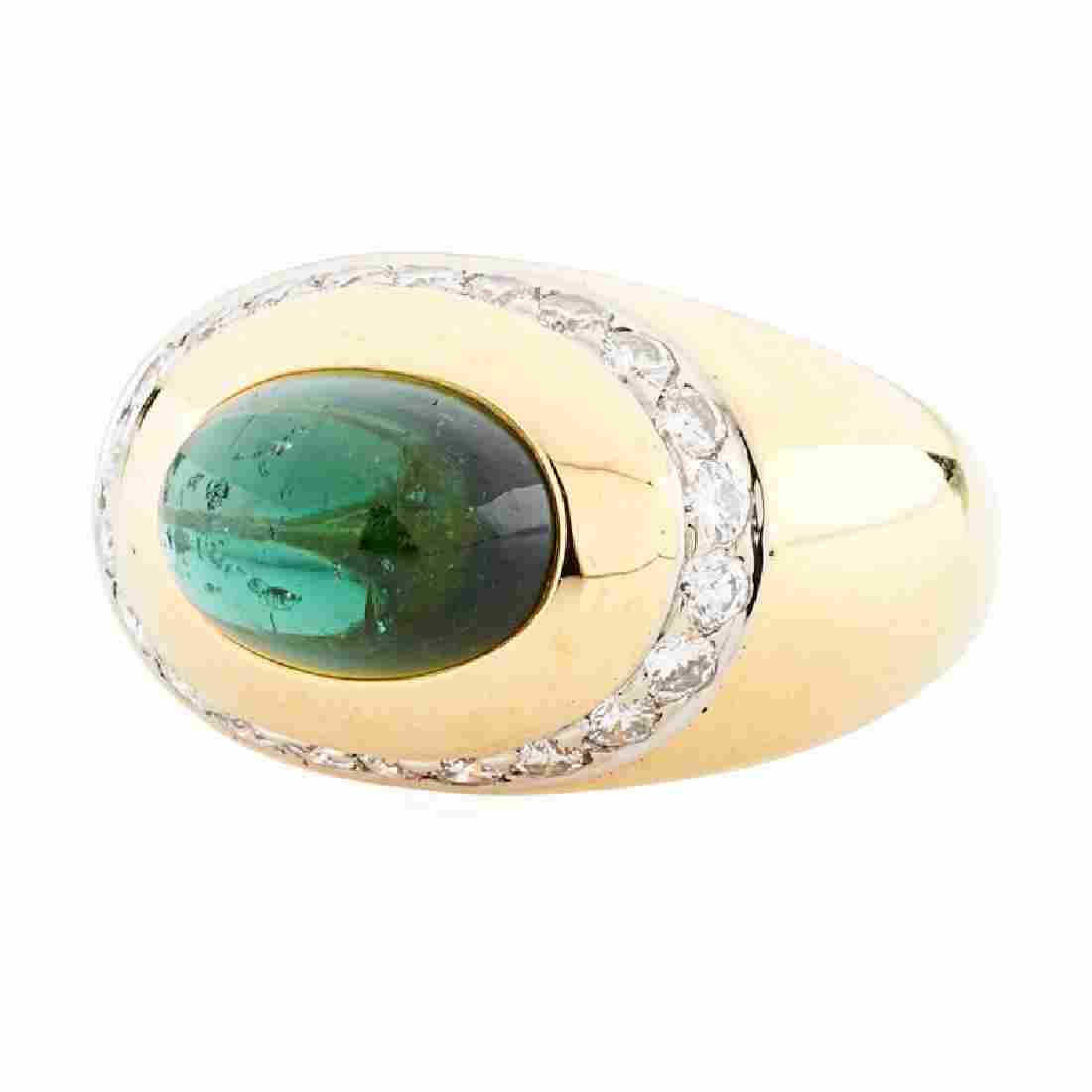 TIFFANY & CO. TOURMALINE, DIAMOND, & YELLOW GOLD RING
