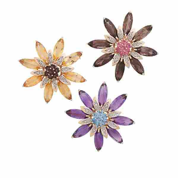 MULTI GEM & DIAMOND YELLOW GOLD FLOWER BROOCHES