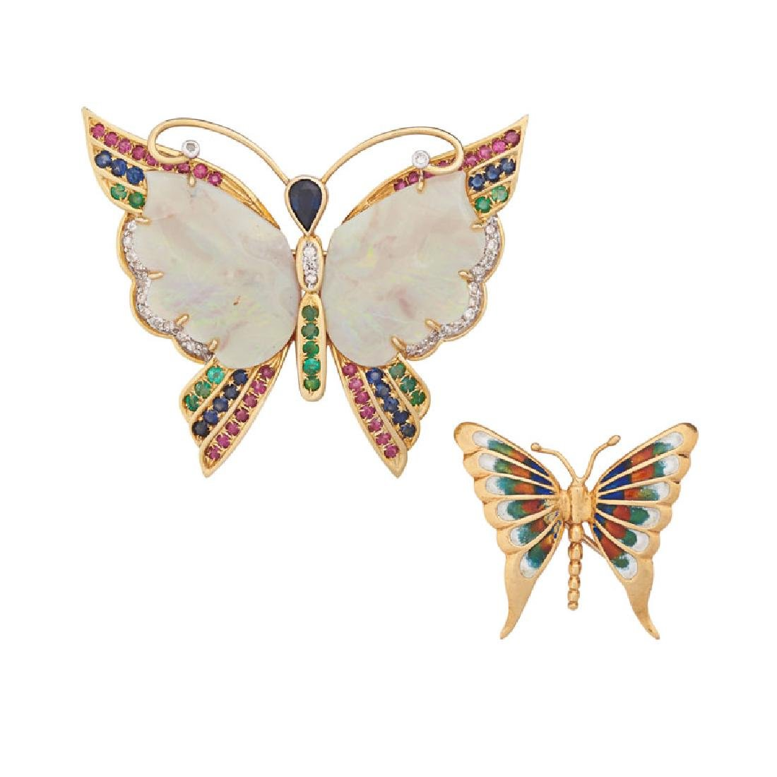 GEM SET OR ENAMELED YELLOW GOLD BUTTERFLY BROOCHES