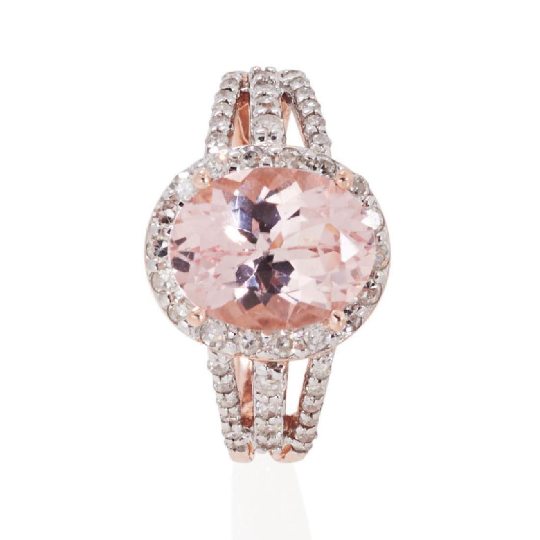 MORGANITE, DIAMOND & ROSE GOLD RING