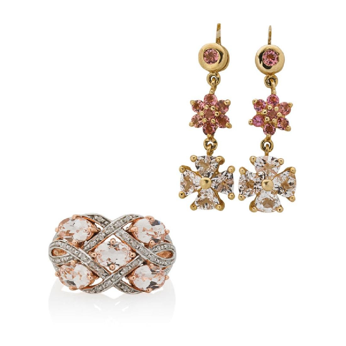DIAMOND OR SPINEL & MORGANITE GOLD JEWELRY