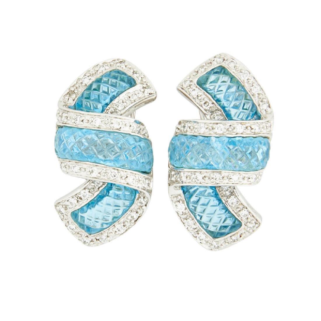 BLUE TOPAZ, DIAMOND & WHITE GOLD RIBBON EARRINGS