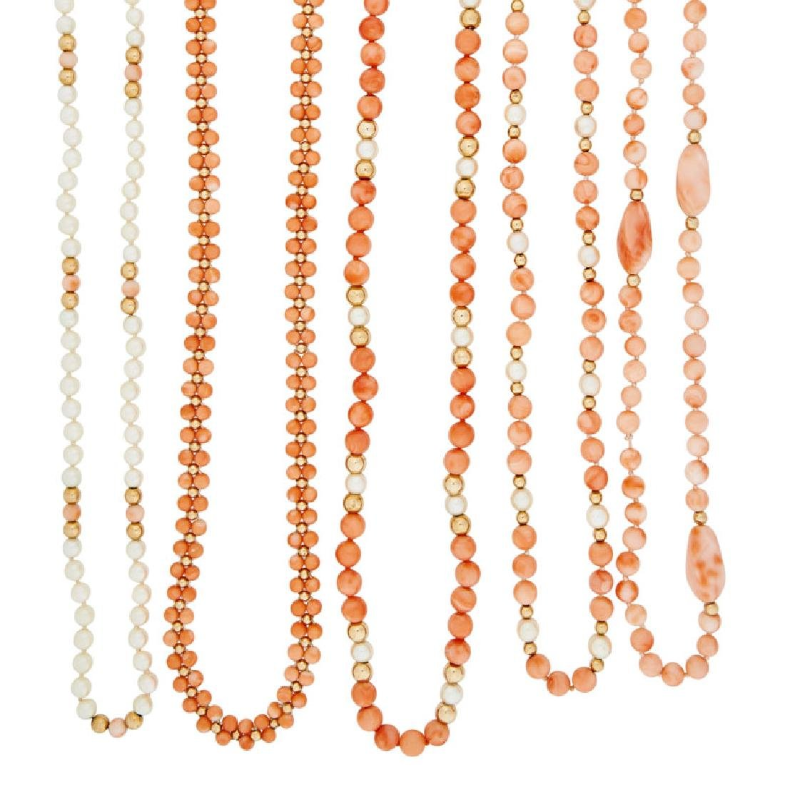 FIVE CORAL, PEARL OR YELLOW GOLD NECKLACES