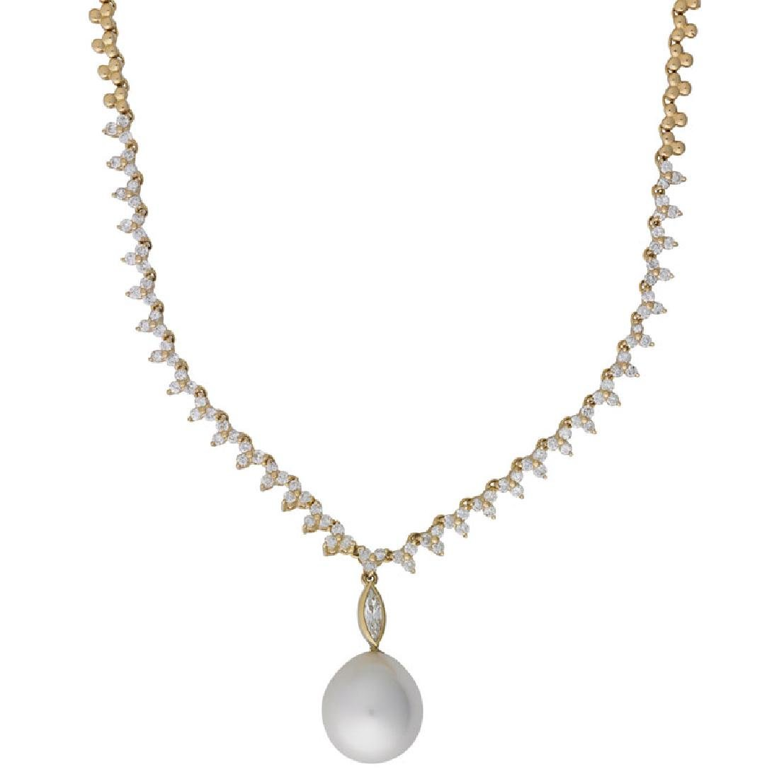 SOUTH SEA PEARL, DIAMOND & YELLOW GOLD NECKLACE