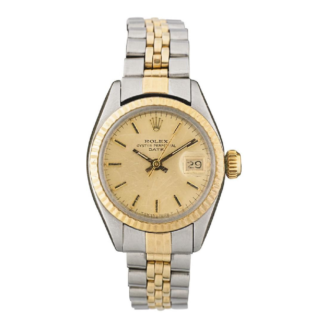 LADY'S ROLEX TWO-TONE OYSTER PERPETUAL DATE WATCH