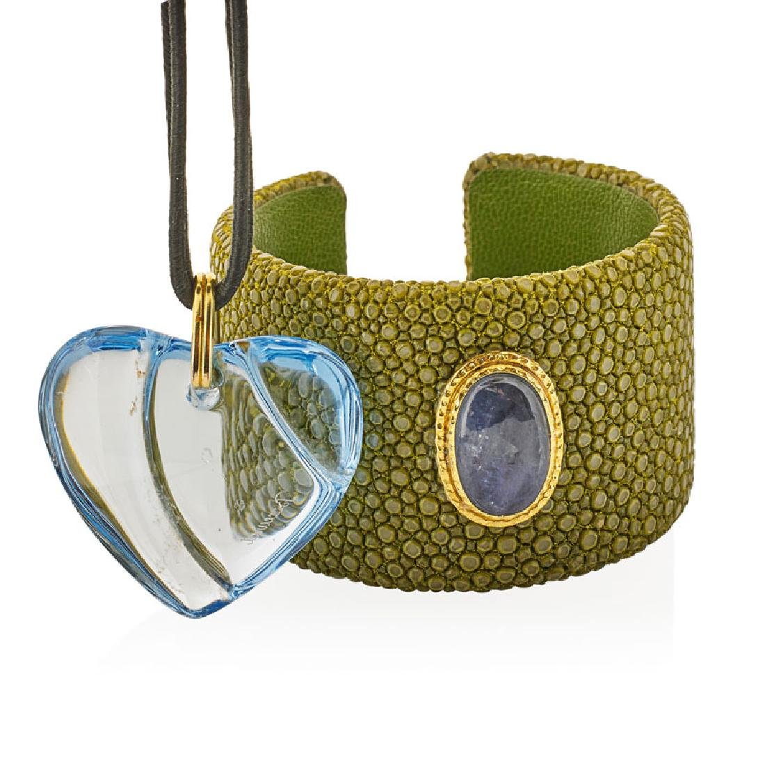 BACCARAT CRYSTAL HEART PENDANT & STINGRAY LEATHER CUFF