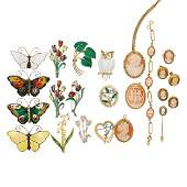 SILVER OR GOLD FILLED BROOCHES & CAMEO JEWELRY