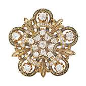 VICTORIAN DIAMOND  ENAMELED YELLOW GOLD PENDANT BROOCH