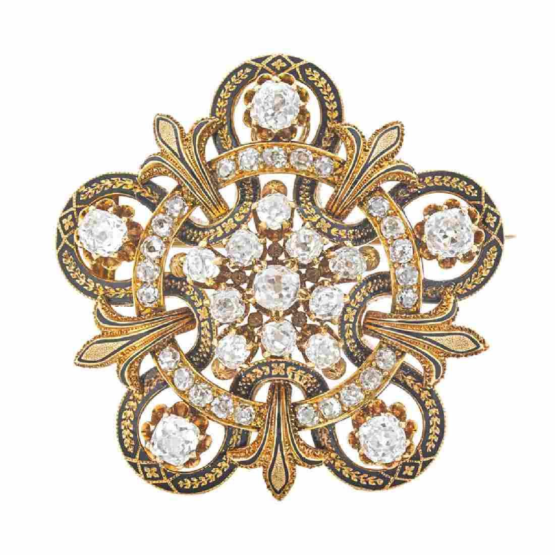 VICTORIAN DIAMOND & ENAMELED YELLOW GOLD PENDANT BROOCH