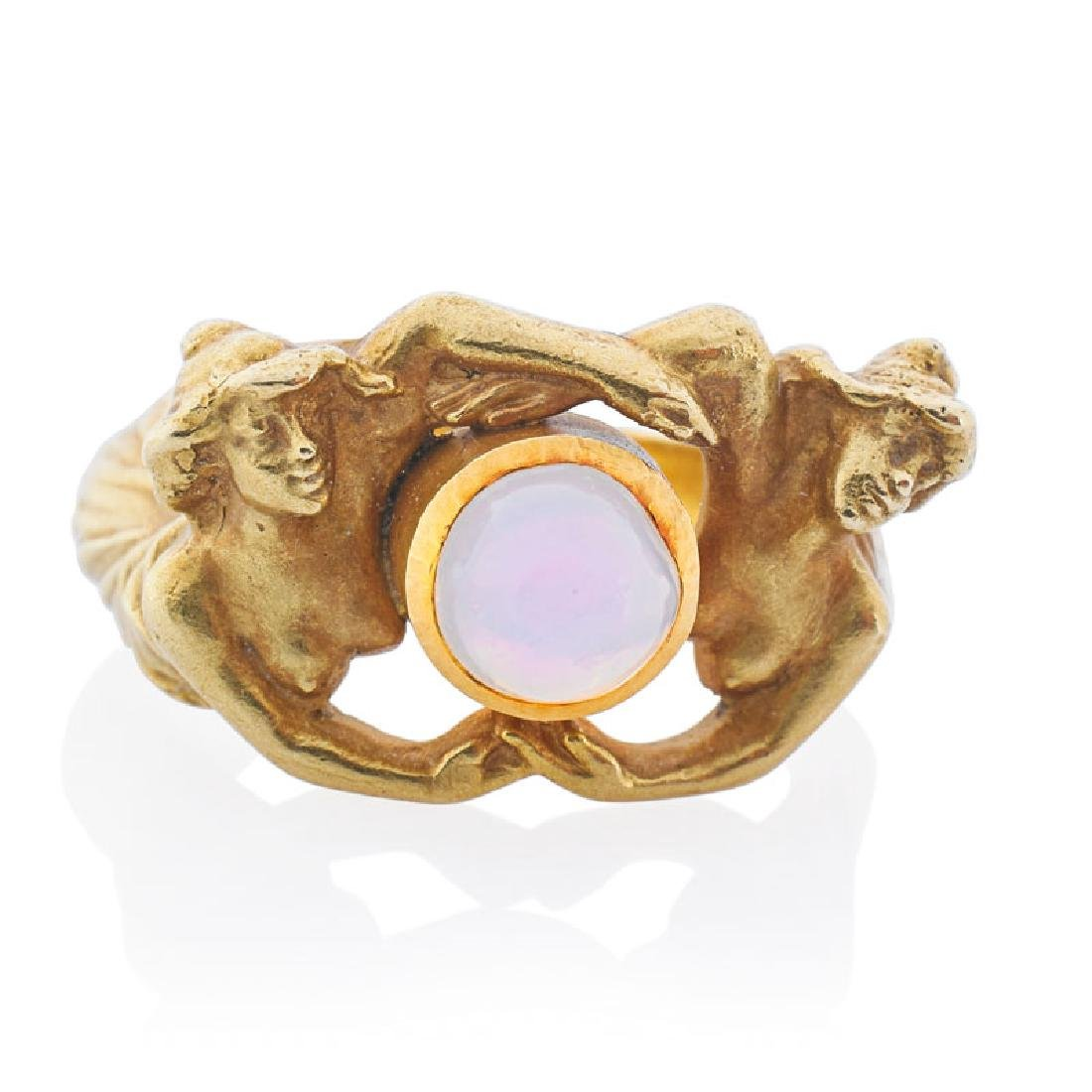 ART NOUVEAU FIGURAL YELLOW GOLD RING