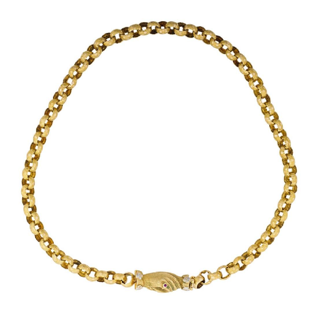 GEORGIAN STYLE YELLOW GOLD NECK CHAIN