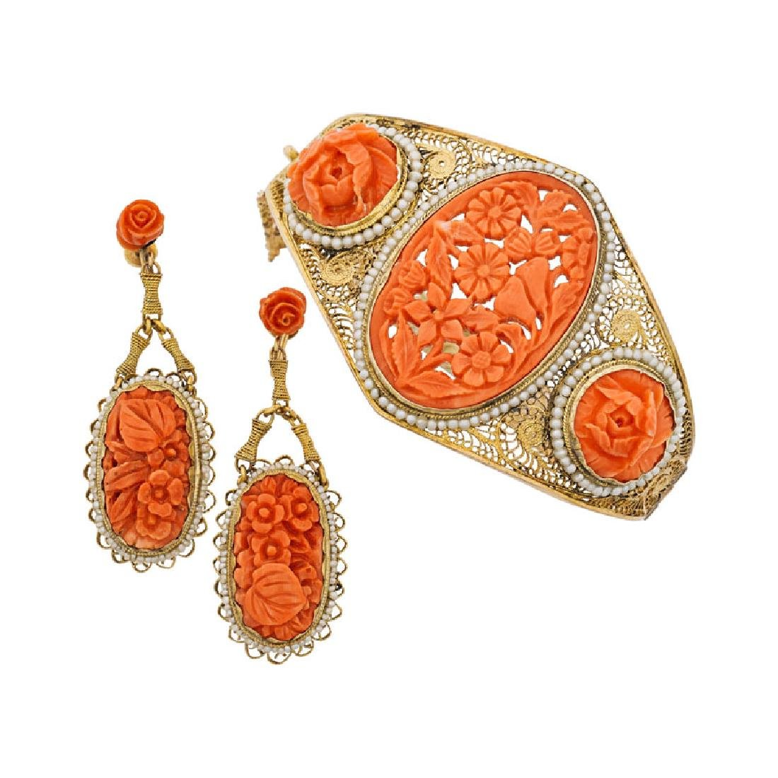 CARVED CORAL, SEED PEARL & YELLOW GOLD FILIGREE JEWELRY