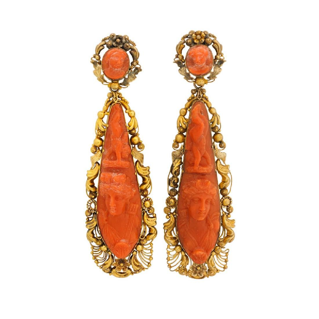 VICTORIAN CARVED CORAL & YELLOW GOLD EARRINGS