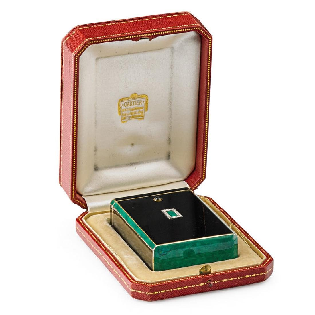 CARTIER ART DECO ENAMELED GOLD & DIAMOND CIGARETTE CASE
