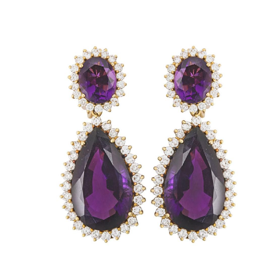 AMETHYST, DIAMOND YELLOW GOLD SUBSTANTIAL DROP EARRINGS