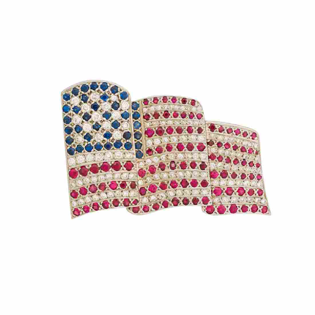 WHITE GOLD & DIAMOND AMERICAN FLAG BROOCH
