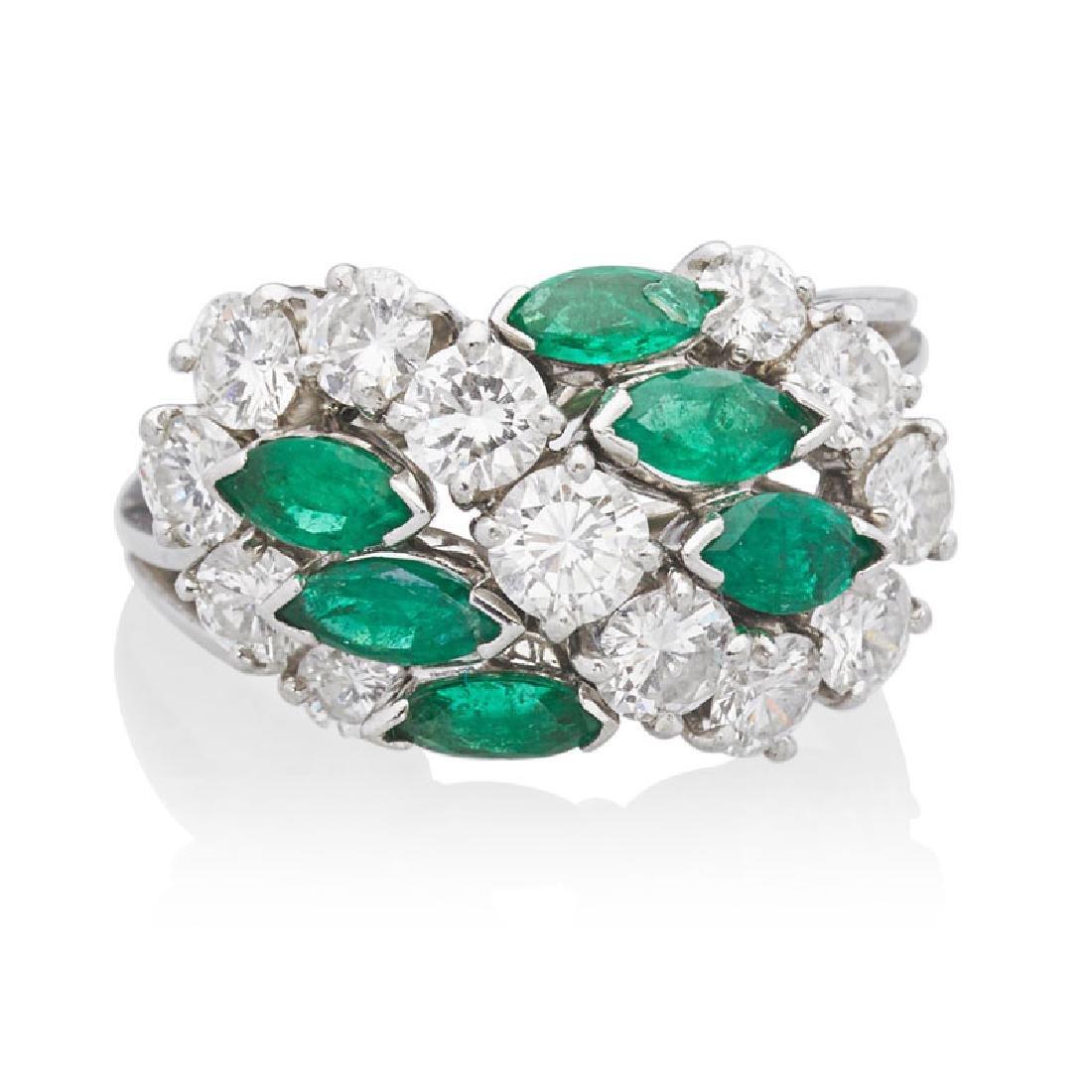 CARTIER DIAMOND, EMERALD & PLATINUM RING