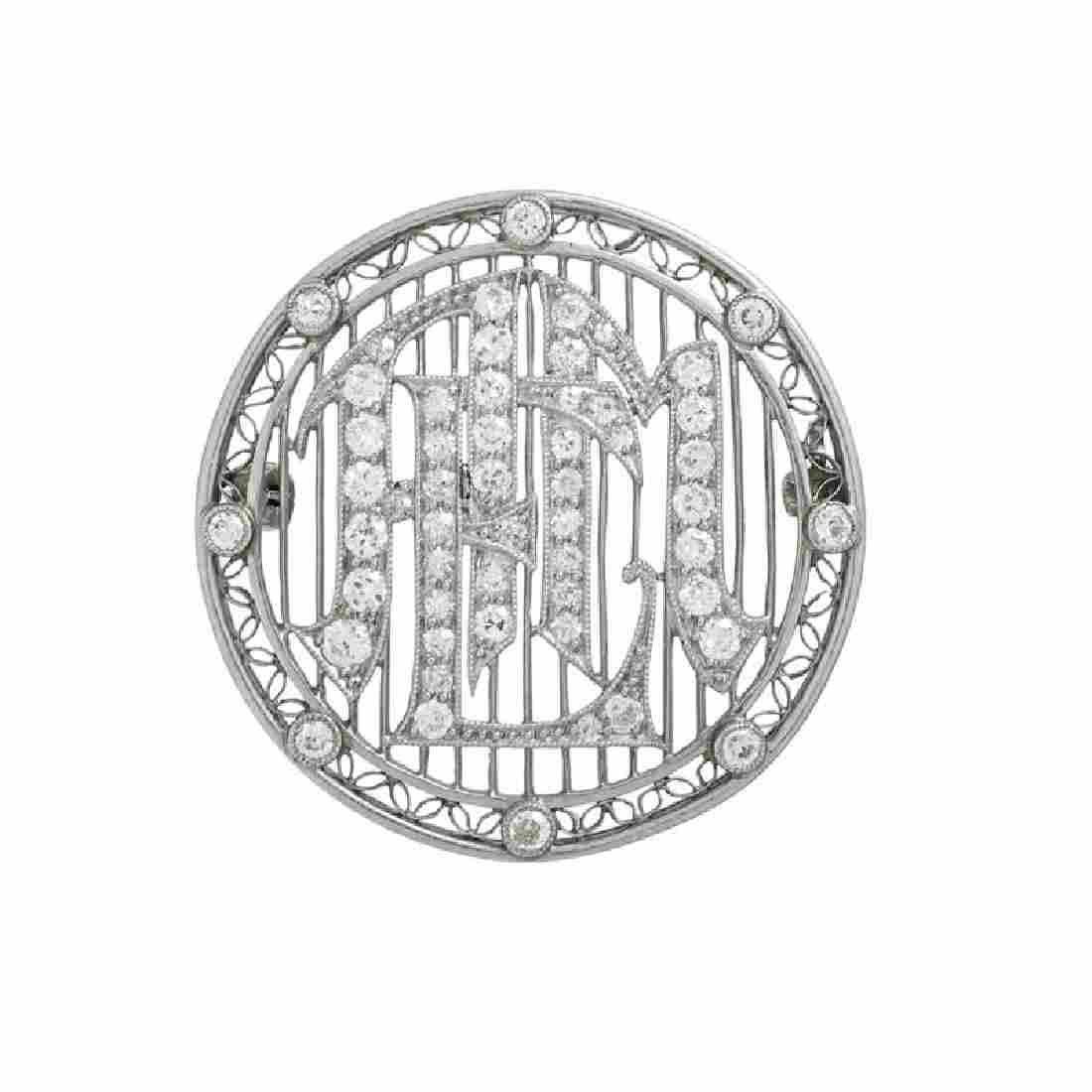EDWARDIAN DIAMOND & PLATINUM MONOGRAM BROOCH
