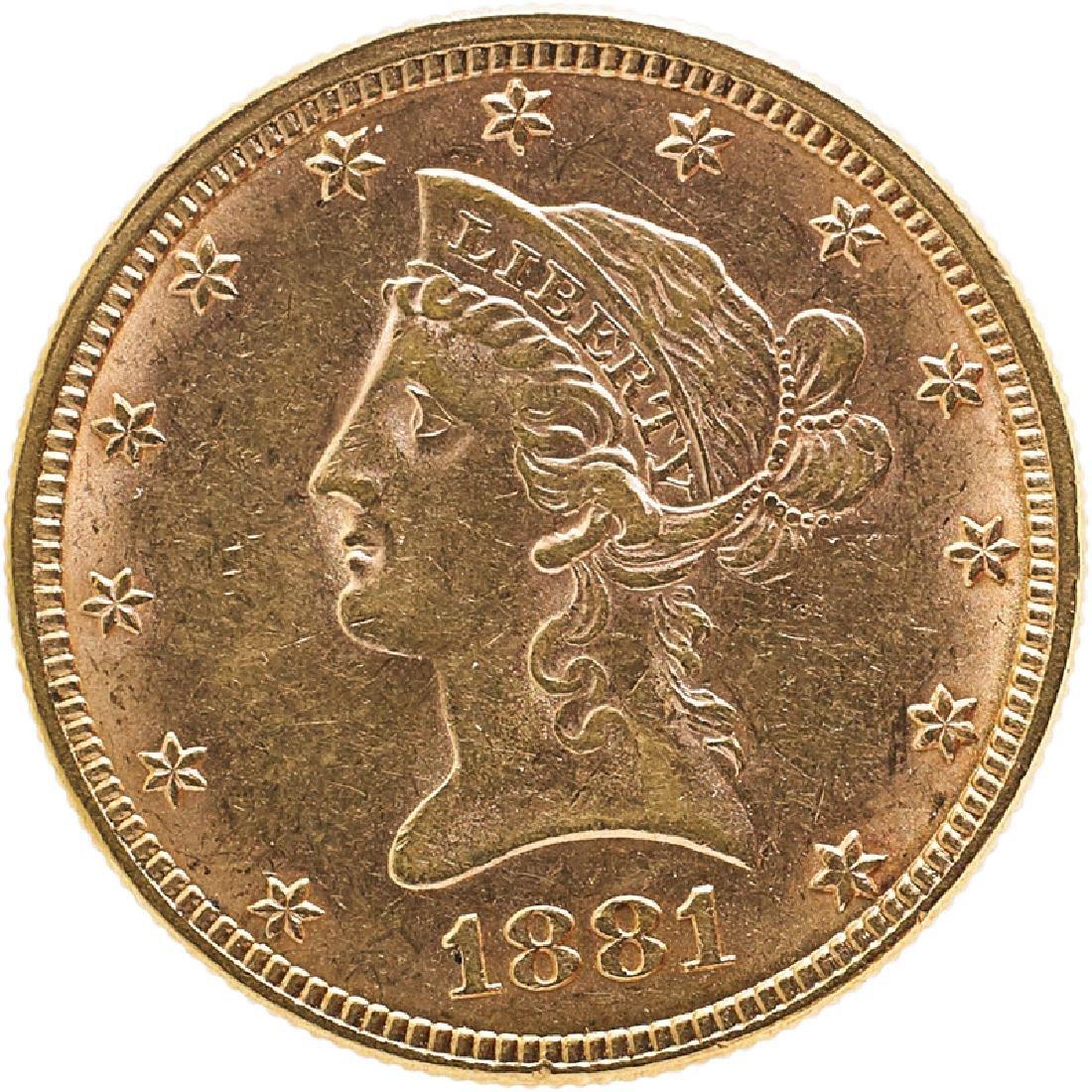 U.S. 1881 LIBERTY $10 GOLD COIN