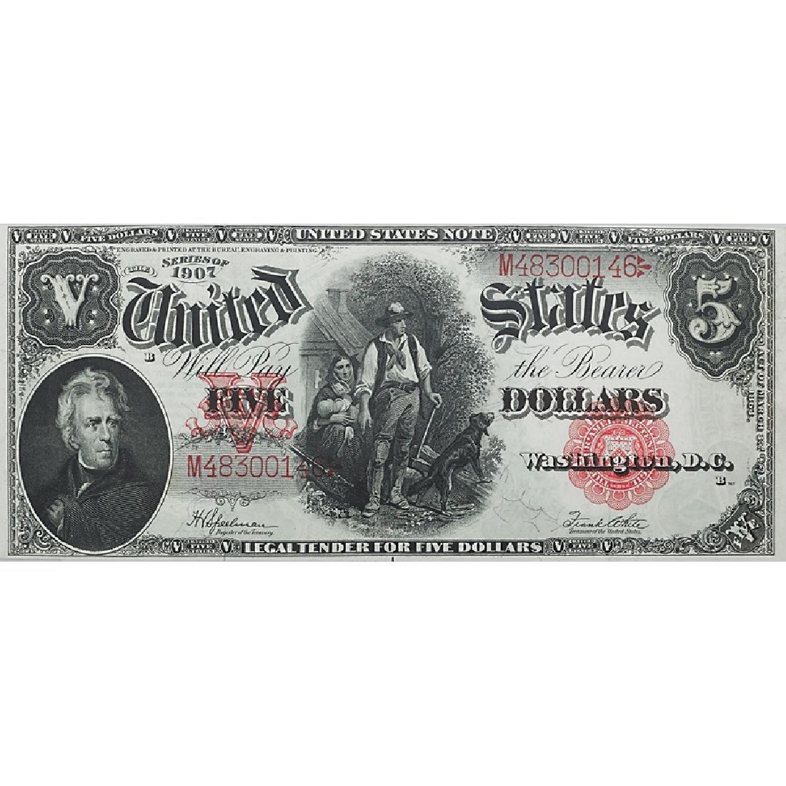 "1907 $5 ""WOOD CHOPPER"" LEGAL TENDER NOTE"