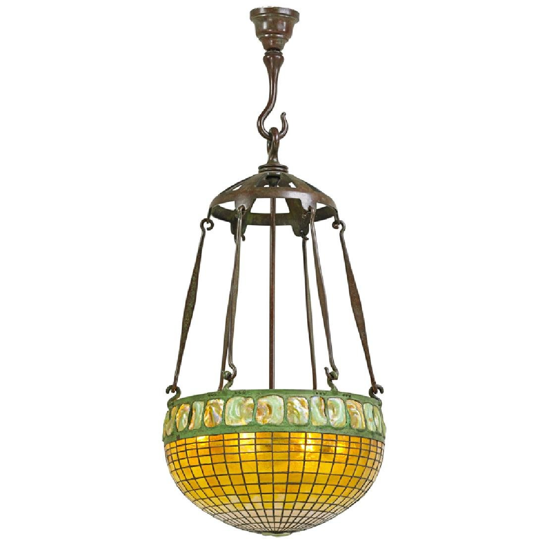 TIFFANY STUDIOS Large Turtleback chandelier