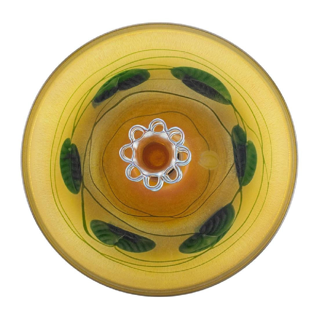 TIFFANY STUDIOS Gold Favrile bowl w/ flower frog - 2