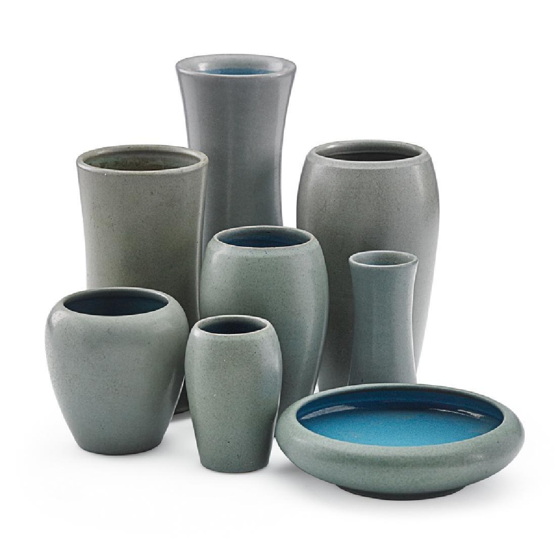 MARBLEHEAD Eight gray vases