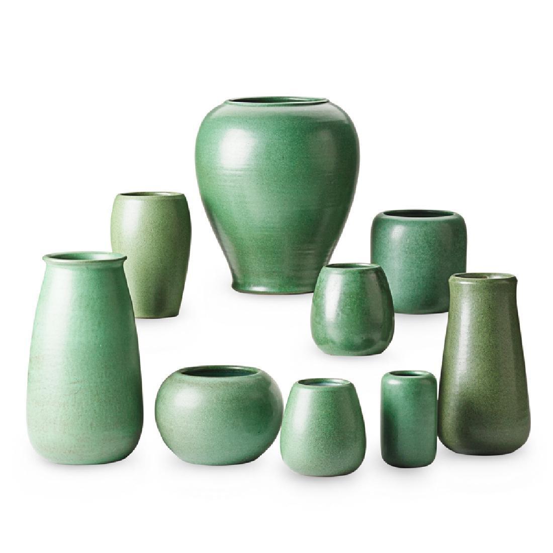 MARBLEHEAD Nine green vases